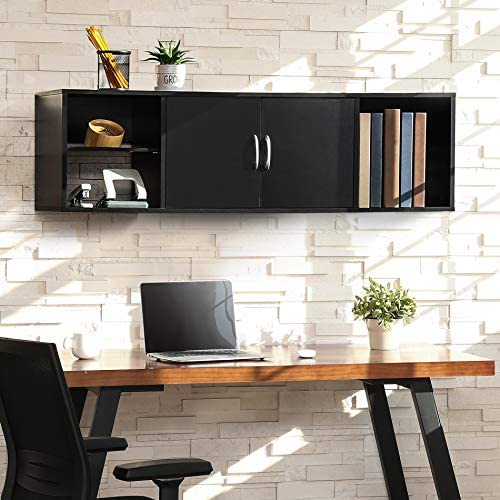 FITUEYES Wall Mounted Desk Hutch with Door Modern Floating Console Media Cabinet HT310401WB product image