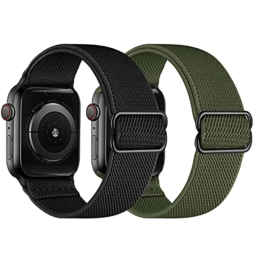 2 Pack CINORS Stretchy Solo Loop Band Compatible with Apple Watch 42mm 44mm Adjustable Braided Sport Elastic Women Men Soft Stap for iWatch 6 5 4 3 2 1 SE, Black and Khaki