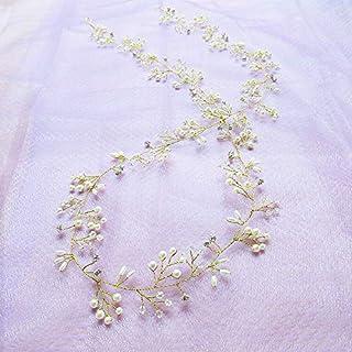 weichuang Cinturón de pelo con perlas de cristal para novia, adornos para el pelo, decoración para novias, accesorios para...
