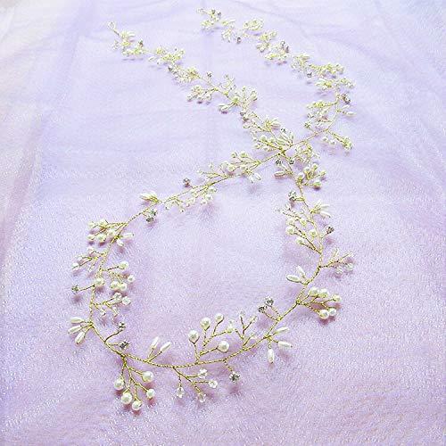 weichuang Cinturón de pelo con perlas de cristal para novia, adornos para el pelo, decoración para novias, accesorios para el pelo, 35 cm, joyería de novia (color: dorado)
