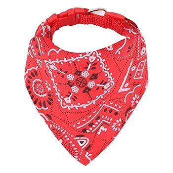 Chiens de Mode Bandana Foulards Ajustable pour Chiot Petit Chien Chat (L, Rouge)