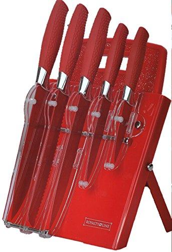 Royalty Line 7pezzi ceppo rosso & tagliere set. Portacoltelli in rivestimento antiaderente in acrilico e tagliere