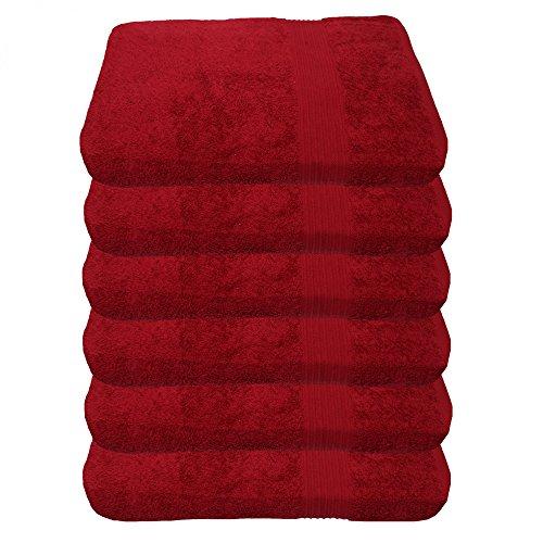 Julie Julsen Lot de 6 serviettes de toilette sans produits chimiques - 600 g/m² - Bordeaux - 50 x 100 cm - 100 % coton - Certifié Öko-Tex Std 100 - Doux et absorbant - Lavable en machine