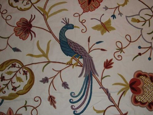Crewel Fabric Peacock Alley Off White Cotton Duck