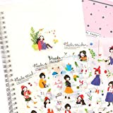1000Art Cute Korean Stickers Set(12 Sheets) Kawaii Girl Planner Stickers for Journals,Scrapbooking,Planners,Cards,DIY Arts and Crafts