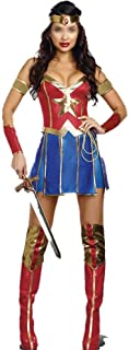 New Halloween DS Stage Wonder Woman Superwoman Role-Playing Uniforms Clothing (Color : Red, Size : XL)