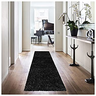 Superior Hand Tufted Thick, Plush, Cozy Quality Shag Textured Area Rugs, Black - 2' 6  x 8' Runner