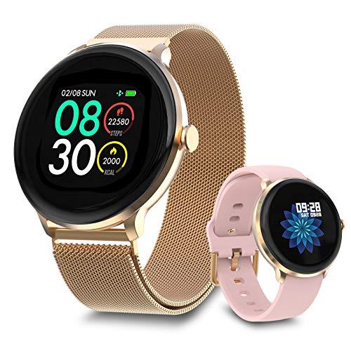 Bebinca 【Verbesserte Version】 Smartwatch Fitness-Tracker mit automatischem Herzfrequenzmesser 7/24, Wetterbericht, Blutsauerstoff, DIY-Zifferblatt, IP68 wasserdicht, größerer Akku(Gold)