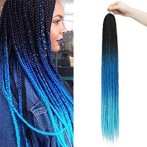 60cm-Treccine Extension dei Capelli Mossi per Treccia Africane Extension Braiding Hair Soffice Capelli Intrecciati Lunghi–Nero Scuro a Blu a Cielo Blu