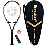 Senston 27 inch Tennis Racket Professional Tennis Racquet,Good Control Grip,Strung with Cover,Tennis Overgrip, Vibration Damper(Red Black)