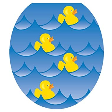 Toilet Tattoos TT-4001-R Rubber Ducky Blue Decorative Applique for Toilet Lid, Round