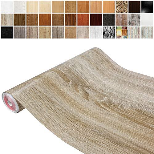 Askol DecoMeister Klebefolien in Holz-Optik Holzfolien Deko-Folien Holzdekor Selbstklebefolie Möbelfolie Selbstklebend Holz-Maserung 67,5x100 cm Sonoma Eiche Hell