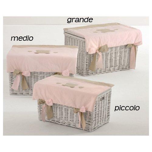 Nanan Baule portagiochi in vimini Toffi medio rosa [N1032]