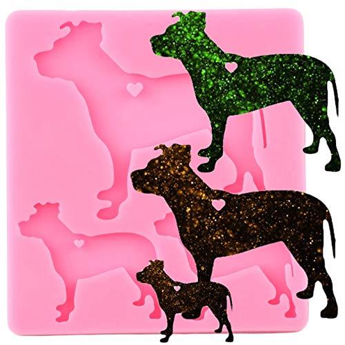 WYNYX Glänzende Hundefamilie Schlüsselbund Silikonform Tiere Schlüsselring EpoxidharzformHundeanhänger Handwerk Schlüsselanhänger Formen
