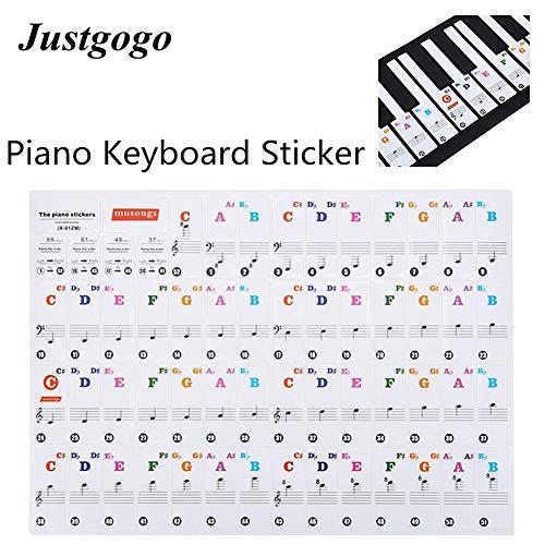 HaiQianXin Piano Sticker Transparant Verwijderbare Piano Key Board Sticker voor 61/88 Key Elektronische Piano's (Kleur: Kleur)