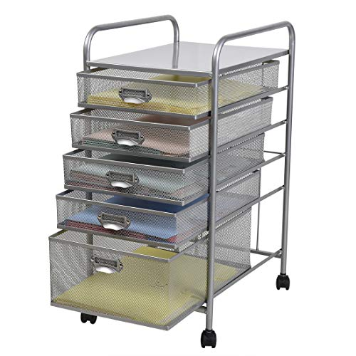 SK SHARKBANG Metal Mesh 5 Drawer Storage Carts A4 Rolling File Organizer for Office&Home-Silver …