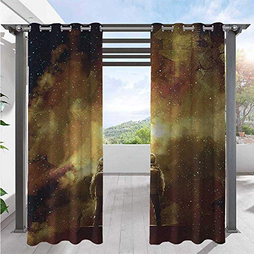 Outdoor Curtain Drapes Cosmonaut Person Standing Against Cosmos Nebula Themed Solar Themed Artwork Print Waterproof and Light Blocking Drapes Used in Hardtop Gazebo Tan Black W108 x L96 Inch
