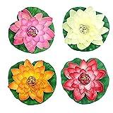 Sanfiyya Artificial Estanque de Loto Flor de Espuma, 4pcs Realista del Lirio de Agua Fuente Plantas del jardín Impermeable 18cm Decoración