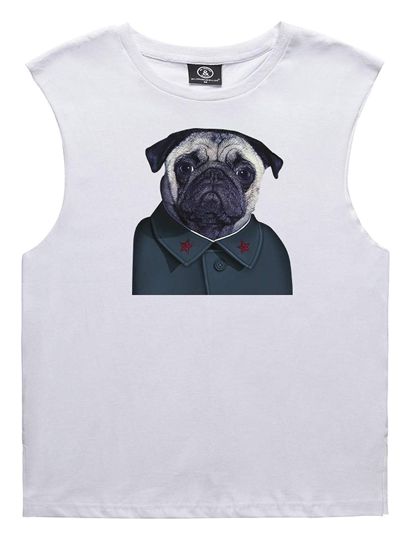 Pizoff(ピゾフ) ノースリーブ Tシャツ メンズ 半袖 柄 ブリント コットン タンクトップ
