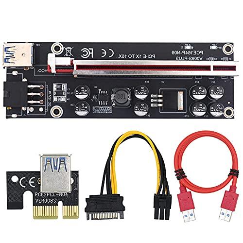 Pci-e Pcie Riser 009 Express 1x 4x 8x 16x Extender Pci And Usb Riser 009s Dual Gpu 6pin Sata Card Adapter 15pin For Btc Miner