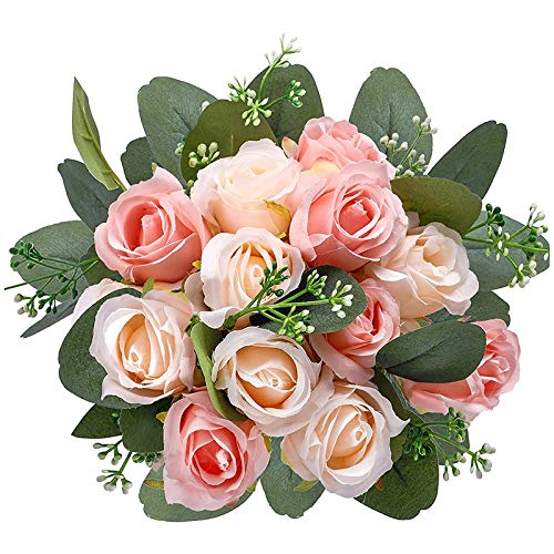 Liseng 17 rosas costeras, 12 rosas de seda y 5 flores de...