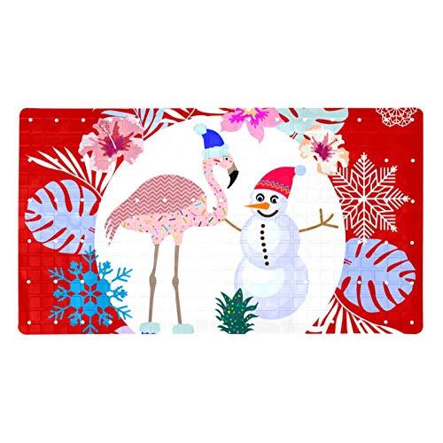 XiangHeFu Alfombrillas de baño para baño,Alfombrilla de baño,Navidad Flamenco muñeco de Nieve Hojas de Palma,Cómoda Alfombra de baño,Cómoda Alfombra de baño para el Piso para decoración del hogar