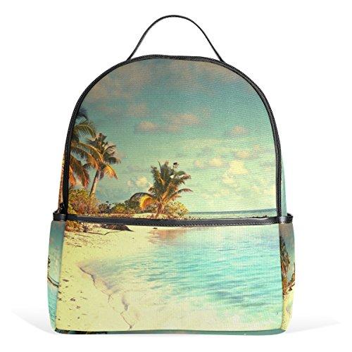 Bennigiry Tropical Paradise Beach Palms Sea Ocean Sunshine Kids School Backpacks Bookbags for Boys Girls Teens