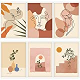 Whaline 6 Pack Abstract Line Art Poster Minimalist Wall Art Prints Waterproof Woman Face Drawing Modern Aesthetic Room Decor for Girls Women Home Bedroom College Dorm, 9.72' x 13.82'