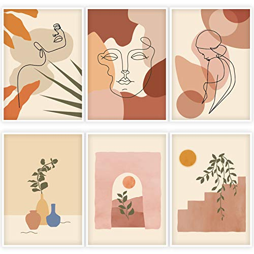 "Whaline 6 Pack Abstract Line Art Poster Minimalist Wall Art Prints Waterproof Woman Face Drawing Modern Aesthetic Room Decor for Girls Women Home Bedroom College Dorm, 9.72"" x 13.82"""