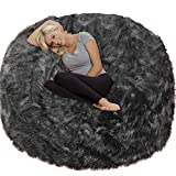 Chill Sack Chair: Giant 6' Memory Foam Furniture Bean Bag Big Sofa with Soft Cover, 6 Foot, Plush Faux Fur - Charcoal