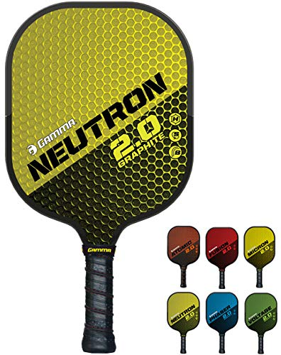 GAMMA Sports 2.0 Neutron Pickleball Paddles: Mens and Womens Textured Graphite Face Pickle-Ball Racquet - Indoor and Outdoor Racket: Yellow, ~7 oz