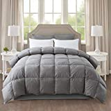 IGI All-Season Gray Down Quilted Comforter with 100% Cotton Cover and Premium Quality Goose Duck Down Feather Filling-Duver Insert or Stand Alone-4 Corner Loops-Queen Size(90×90 inch)