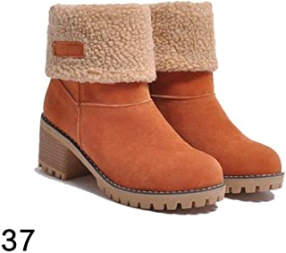 6d78655f49c YENJO Women Fashion Winter Suede Heel Lined Ankle Boots Snow Martin Boots  Snow Boots