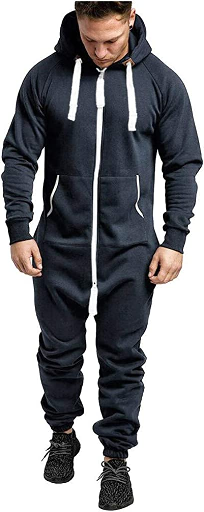 Hooded Onesie Jumpsuit for Mens Fashion Zipper One-Piece Romper Jogging Tracksuit Sweatpants Playsuit