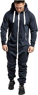 Mono de invierno para hombre, estilo casual, color puro, con capucha