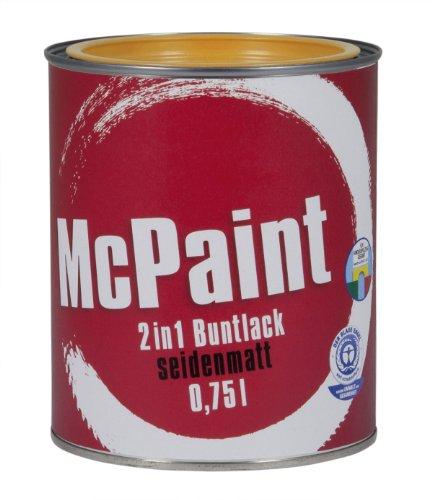 McPaint 2in1 Buntlack Grundierung & Lack in einem für Innen und Außen.PU verstärkt-speziell für Möbel & Kinderspielzeug seidenmatt Farbton: RAL 1021 Rapsgelb 0,75 L -Bastellack-Andere Farben verfügbar