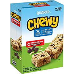 Includes 58 individually wrapped Chewy Granola Bars, Chocolate Chip flavor New Look. Same great taste. (Packaging may vary) Made with real chocolate and 9 grams of 100% whole grains. 100 Calories per bar. Made with no artificial preservatives, artifi...