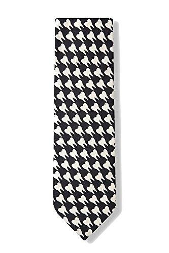 Men's Black & White Microfiber Dentist Teeth Necktie