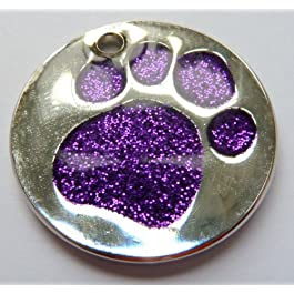Engraved 25mm Purple GLITTER PAW Pet ID Tag – ENGRAVED & POSTED FREE by M&K Supplies. Cat Dog Print Shape Design Identity Gift Round Disc
