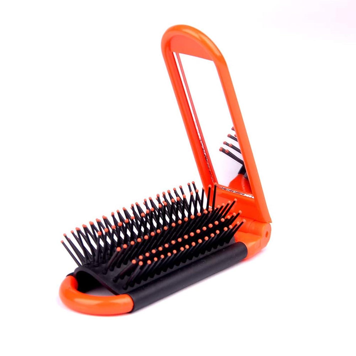かなりのストリップ急性ヘアーコーム ポータブル折り畳み式ミラー櫛プラスチック櫛ラウンド小さな曲線の歯男性&女性のための 理髪の櫛 (色 : オレンジ)