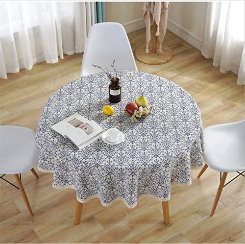Mantel Redondo Azul y Blanco de 150 cm de diámetro decoración del hogar Protege la Mesa de Centro de Mesa de Comedor de Escritorio