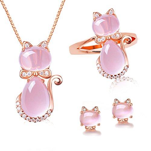 Uloveido Girl's Simulated Ovale Cut Pink Opal Cat's Eye Stud Boucles D'oreilles Collier Anneau Plaqué Or Rose Mignon Chat Animal Ensemble de Bijoux (Taille 51.9) Y427