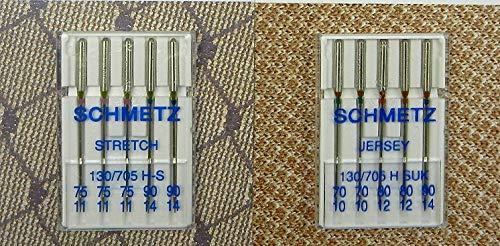 SCHMETZ Lot de 10 aiguilles pour machine à coudre Stretch & Jersey 130/705