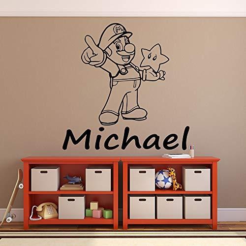 Super Mario pared calcomanía dibujos animados chico nombre personalidad vinilo puerta y ventana pegatina dormitorio bebé habitación decoración del hogar
