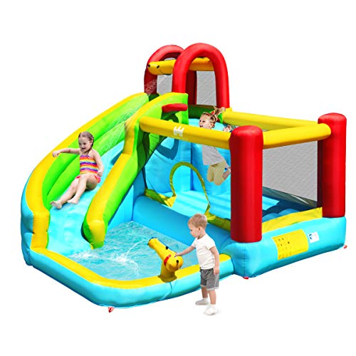 GYMAX Kids Bouncy Castle, Inflatable Water Play Center with Slide, Climbing Wall, Trampoline, Water Gun and Basketball Hoop, Bouncer House for Indoor & Outdoor