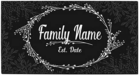 Custom Wedding Gifts Text Date Est Personalized Welcome Mat Personalized Doormat Black White product image