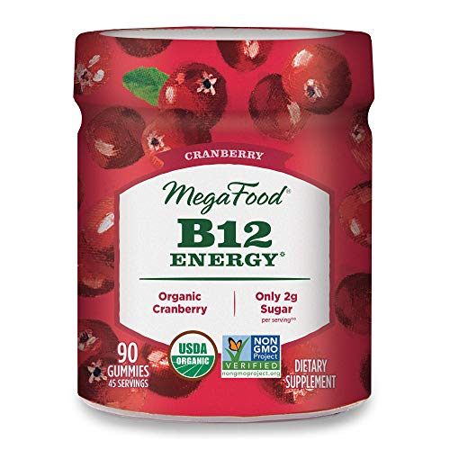 MegaFood, Certified Organic B12 Energy Cranberry Gummies, Soft Chew Vitamin B12 Supplement for Cellular Energy Support, Gluten Free, Vegan, 90 Gummies (45 Servings)
