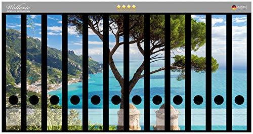 Wallario Ordnerrücken Sticker Italienische Küste in Premiumqualität - Größe 12 x 3,5 x 30 cm, passend für 12 schmale Ordnerrücken