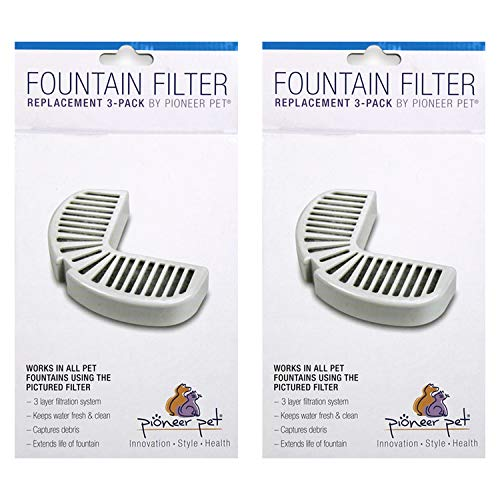 Pioneer Pet Replacement Filters for Ceramic and Stainless Steel Fountains, (6 Filters)
