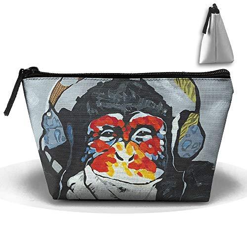 Sac de rangement portable trapézoïdale mignon lapin motif de lapin cosmétique sacs de voyage trousse de toilette fermeture éclair porte-crayons